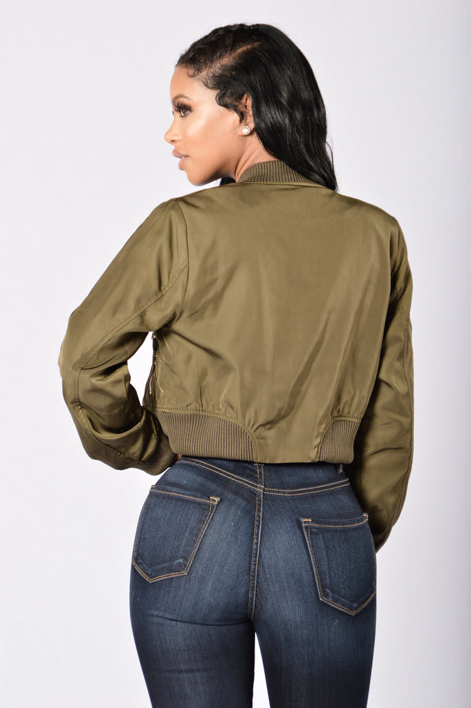Teddy Bomber Jacket - Olive