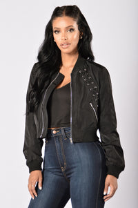 Teddy Bomber Jacket - Black