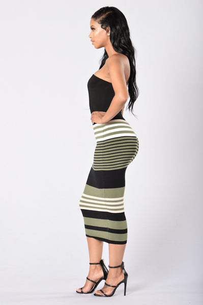 Striped Tease Skirt - Olive