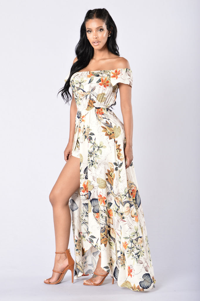Hot Tropics Dress - Cream Multi
