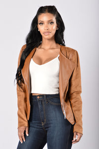 Rebel Heart Moto Jacket - Camel Angle 2