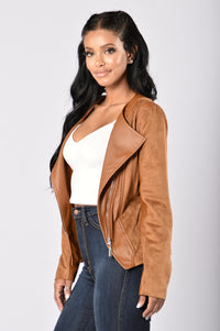 Rebel Heart Moto Jacket - Camel Angle 4