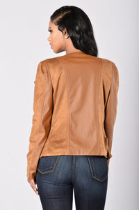 Rebel Heart Moto Jacket - Camel Angle 3
