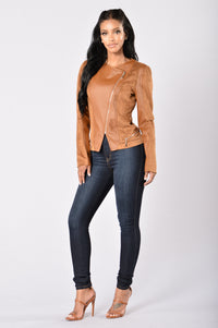 Rebel Heart Moto Jacket - Camel Angle 8