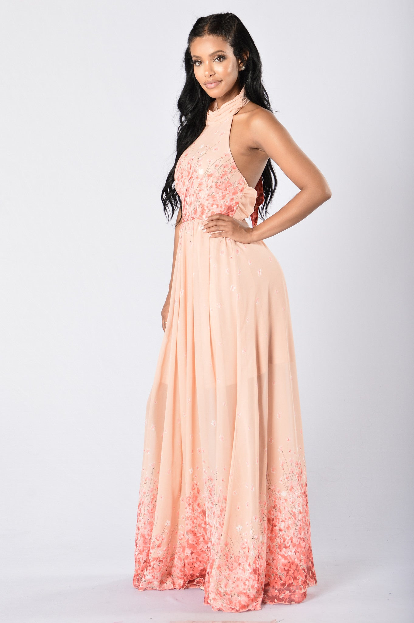 Cherry Blossoms Maxi Dress - Coral/Nude