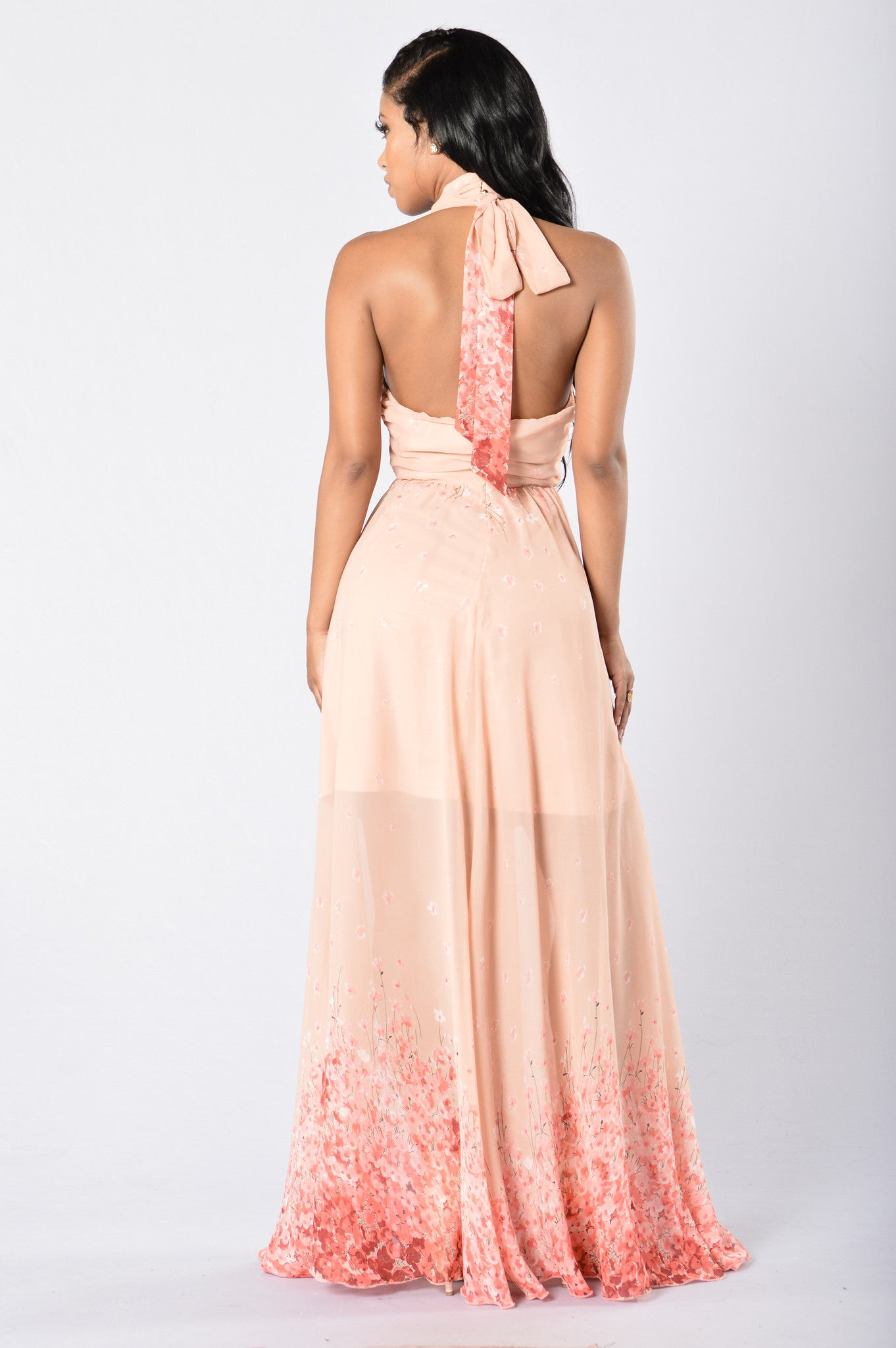 Cherry Blossoms Maxi Dress Coral Nude