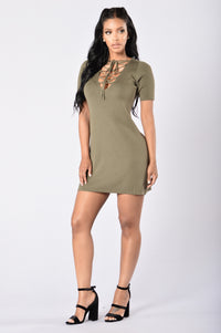 Too Often Dress - Olive Angle 4