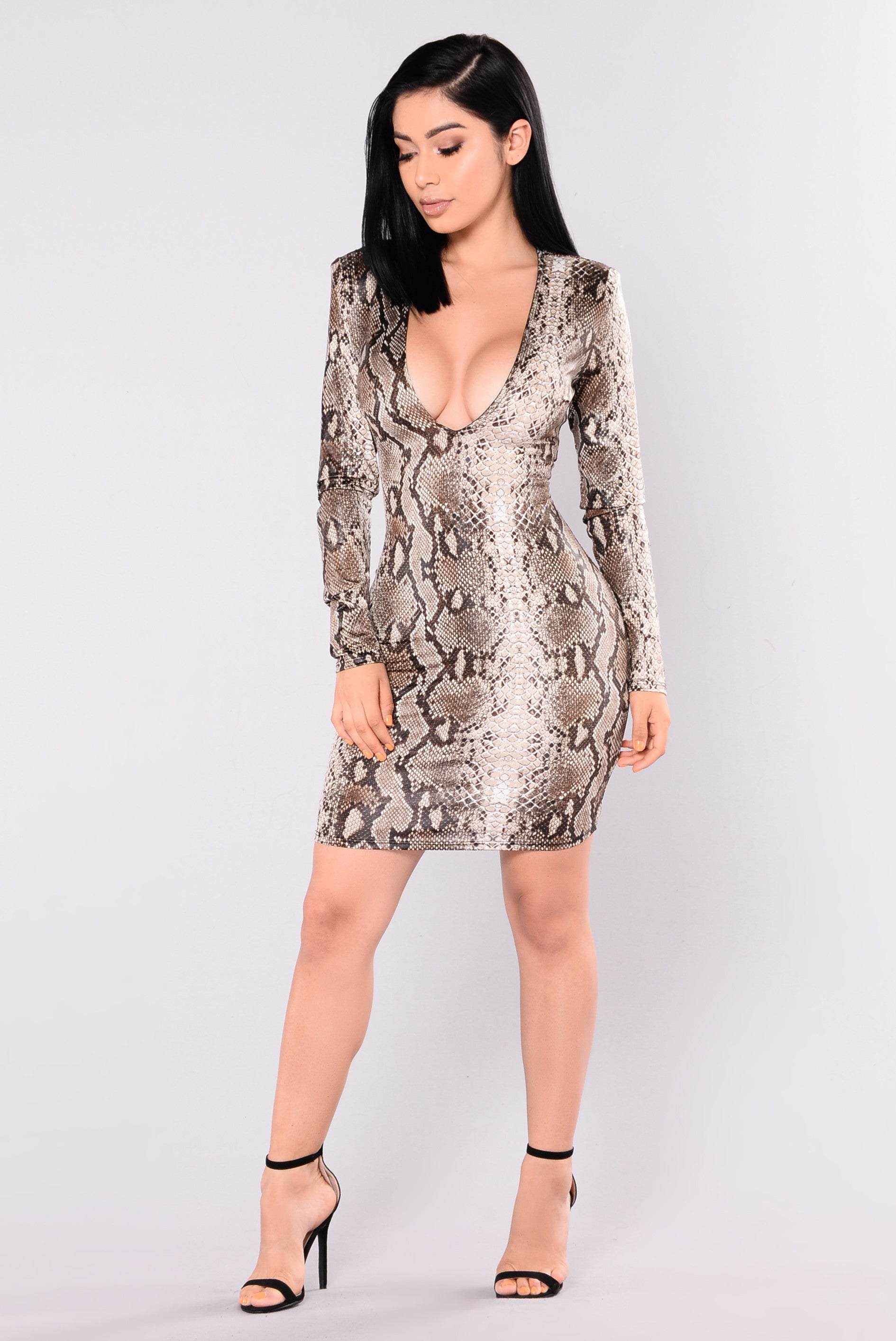 Snake Eyes Snake Print Dress - Grey