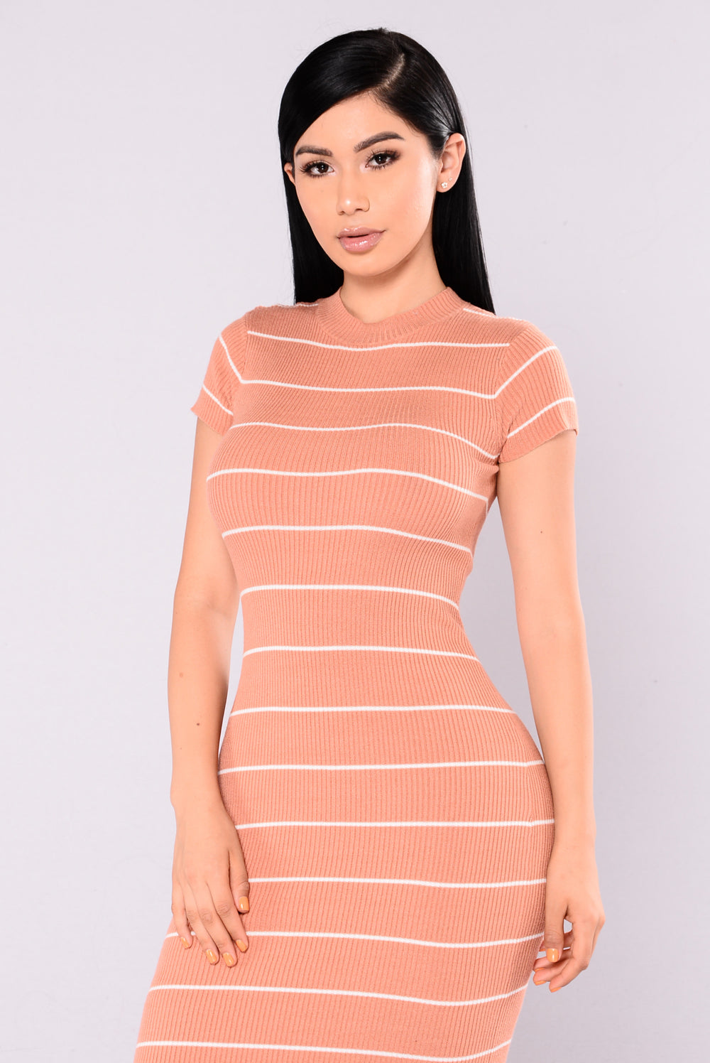 Raise The Bar Striped Dress - Nude/White