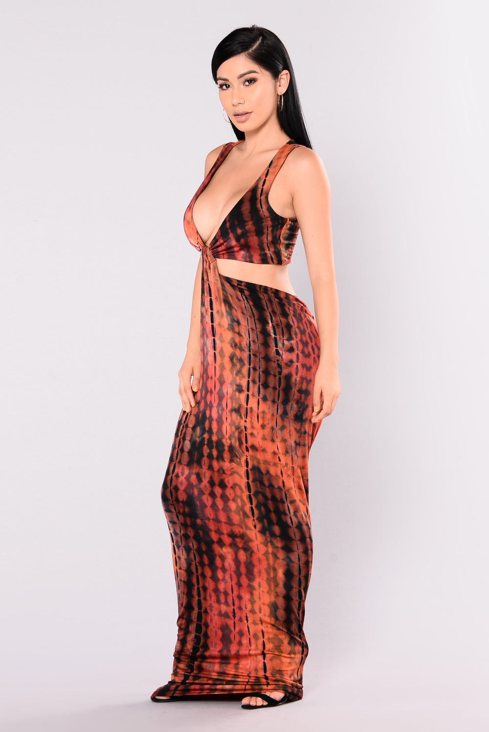 Knot Me Tie Dye Dress - Rust