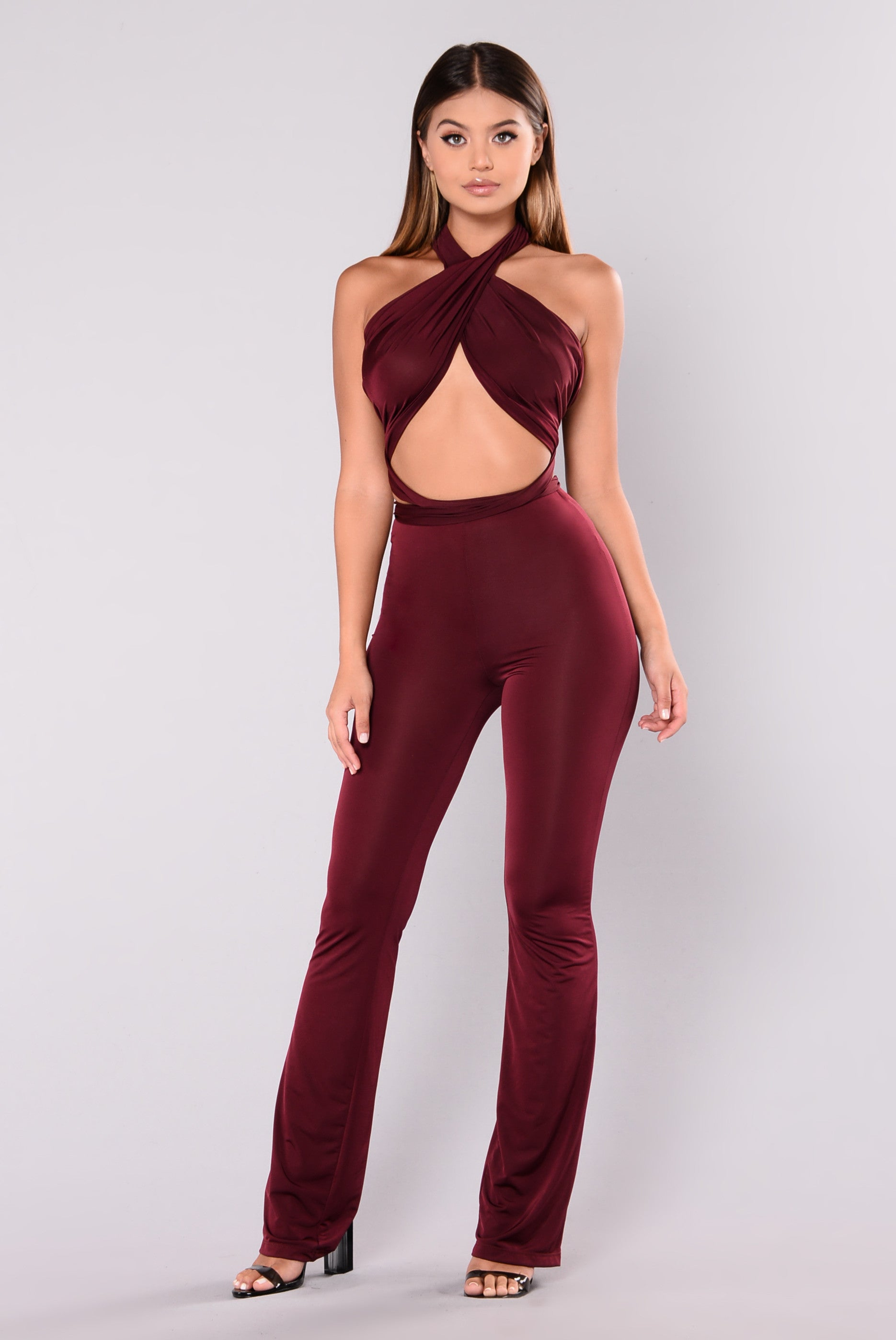Many Talents Multi Way Jumpsuit Burgundy