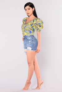 Violet Moon Off Shoulder Top - Yellow/Royal