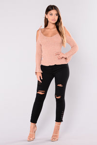 Flavor Of The Week Cold Shoulder Sweater - Brick