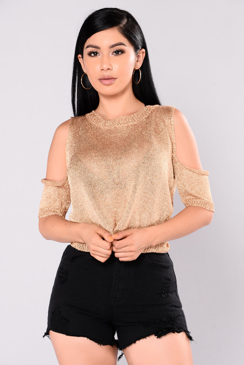 Rhea Metallic Cold Shoulder Sweater - Rose Gold