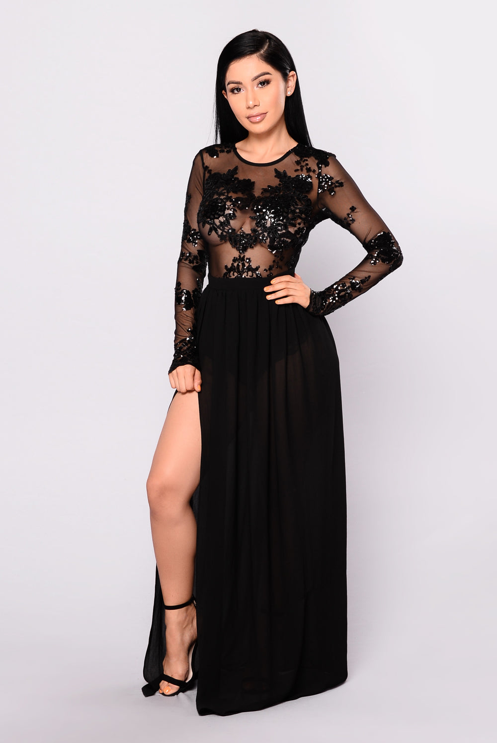 Venue Sequin Maxi Dress - Black