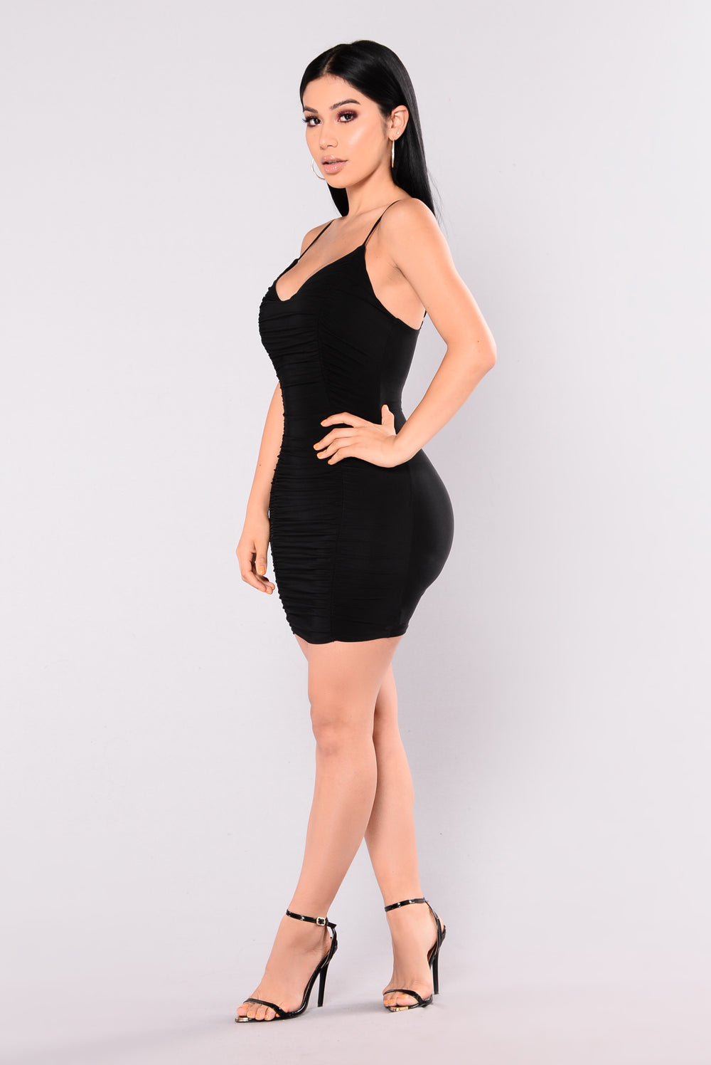 Gwynn Ruched Dress - Black