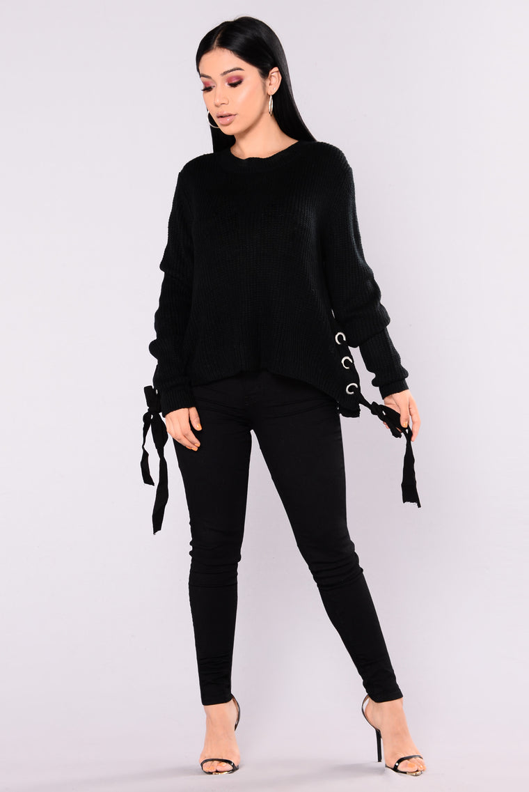 Lidia Lace Up Sweater - Black