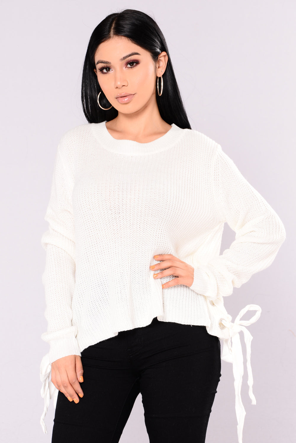 Lidia Lace Up Sweater - White