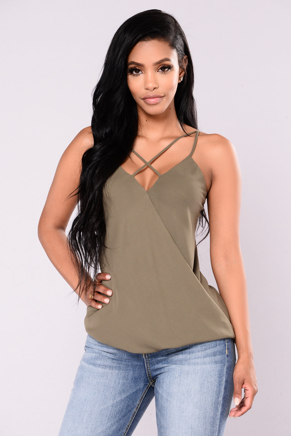 Flaming Sambuca Surplice Top - Olive