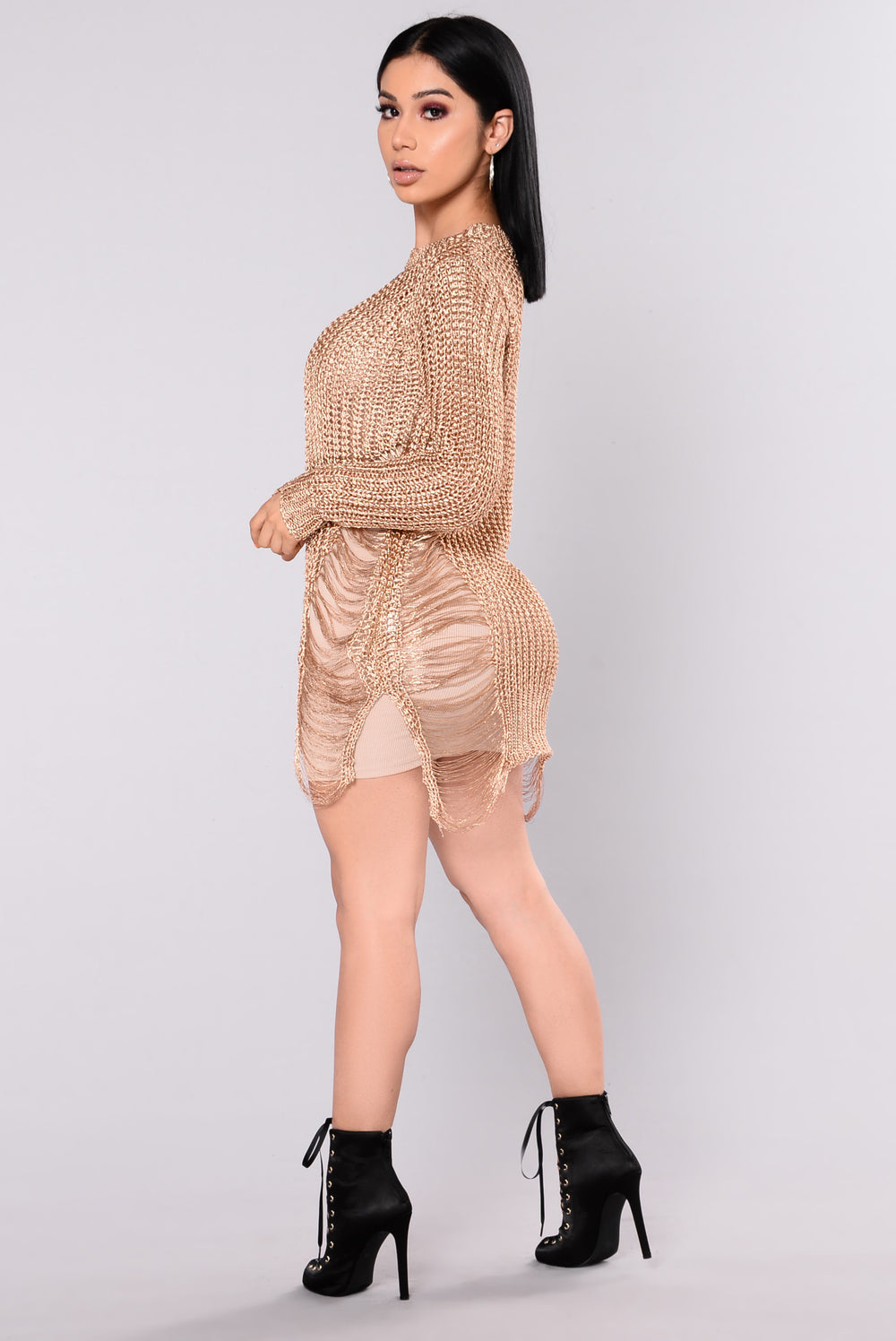 Helene Metallic Distressed Sweater - Rose Gold