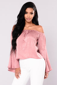 Just Like You Satin Top - Mauve