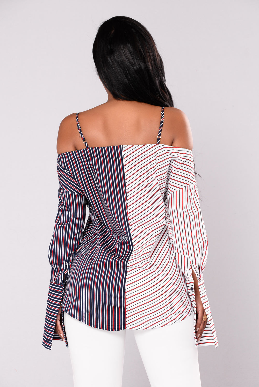 Sign The Lines Striped Top - White/Navy