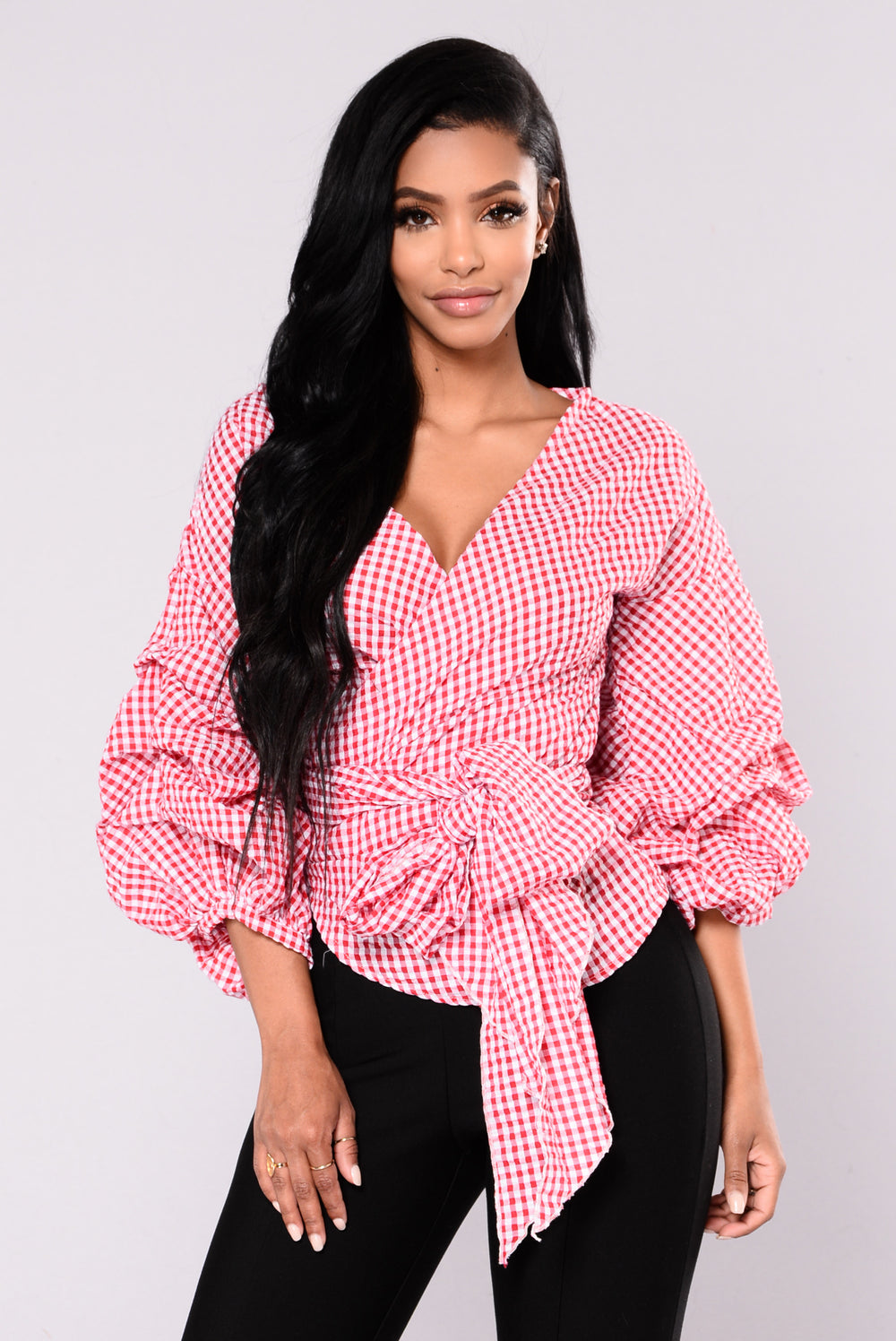 Ride Slow Gingham Top - Red/White