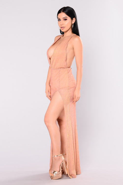 Chanelle Metallic Maxi Dress - Rose Gold