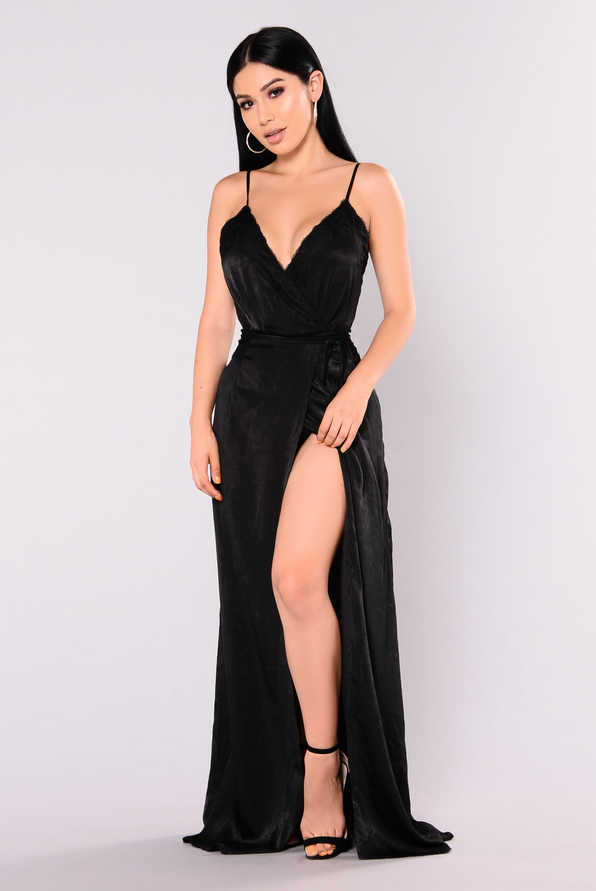 Long black satin maxi dress