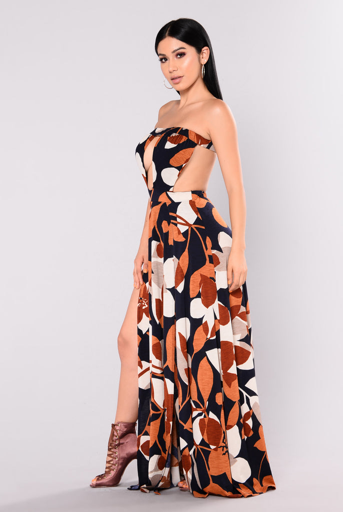 Autumn Sky Maxi Dress - Navy/Rust