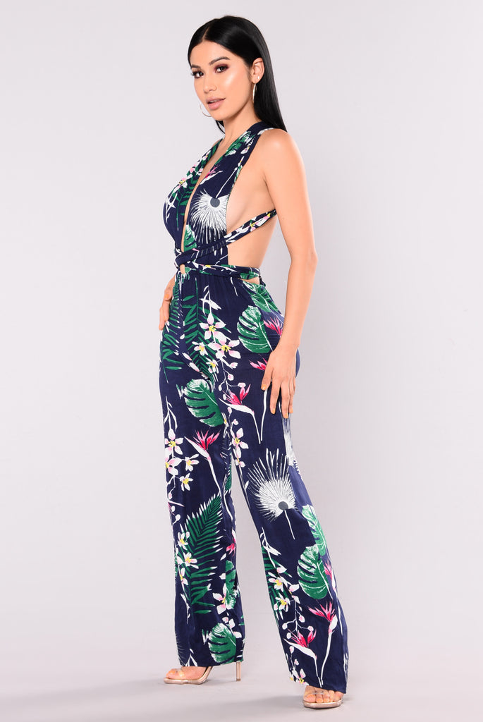 Barrier Reef Tropical Jumpsuit - Navy