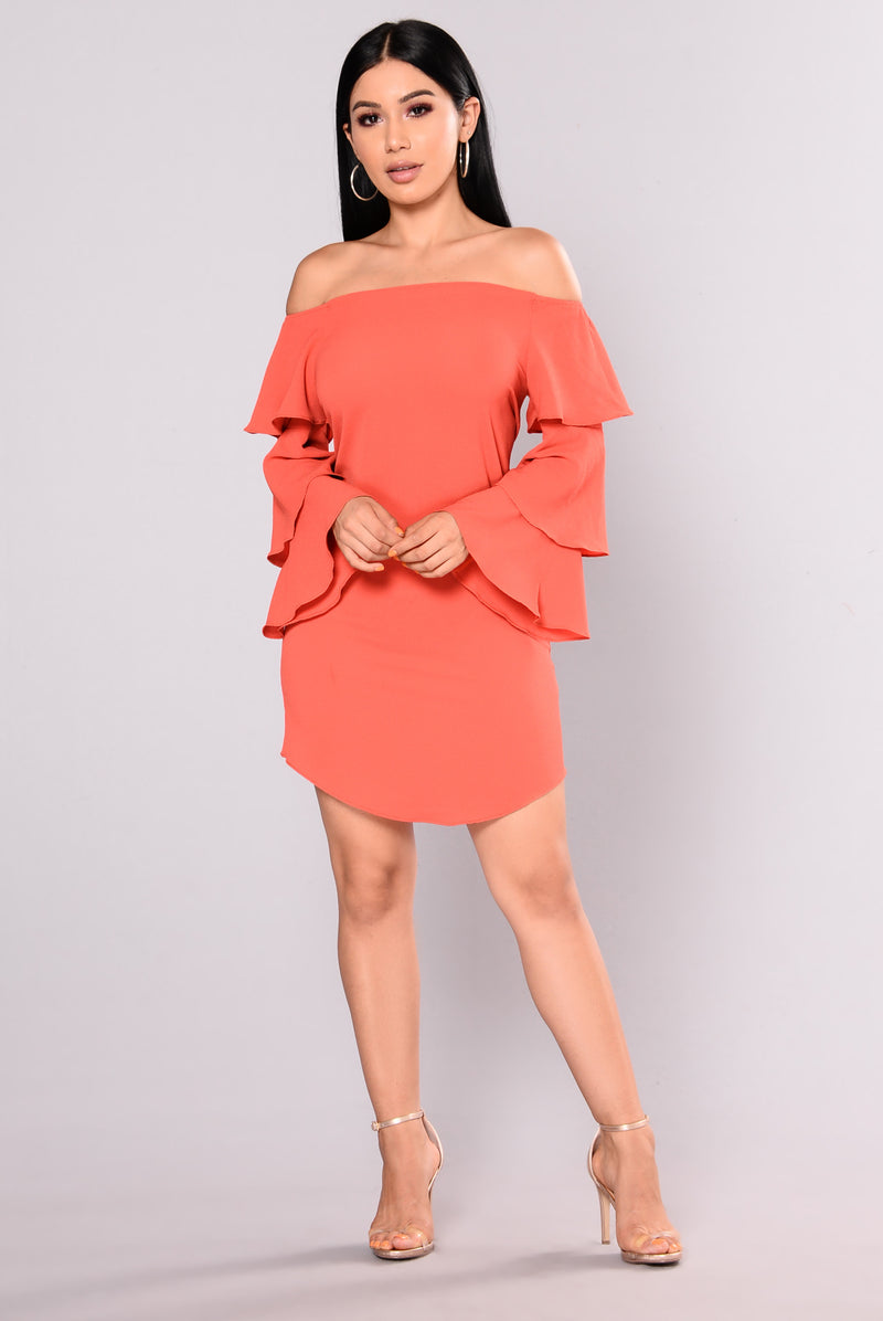 Shania Off Shoulder Dress - Rust