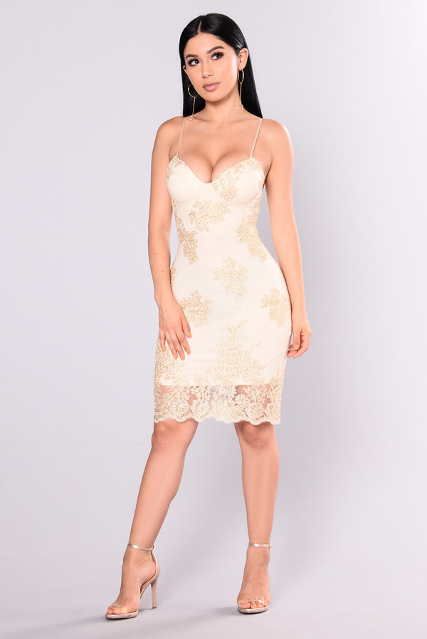 89655470627 Treat You Right Embroidered Dress - Gold