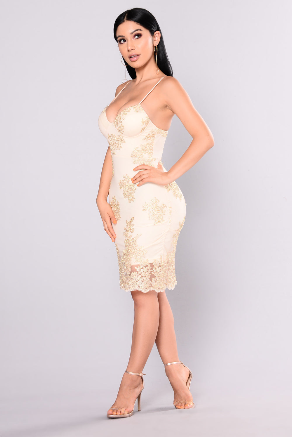 Treat You Right Embroidered Dress - Gold