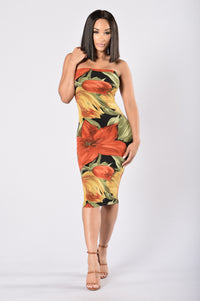 Brush Strokes Tube Dress - Black/Rust