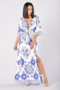 Kamari Dress - White/Royal Angle 1