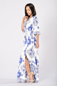 Kamari Dress - White/Royal Angle 3
