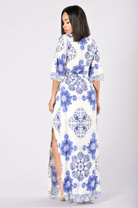 Kamari Dress - White/Royal Angle 2
