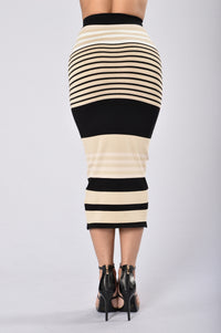 Striped Tease Skirt - Taupe