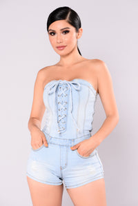 Nothing Into Something Romper - Light Blue