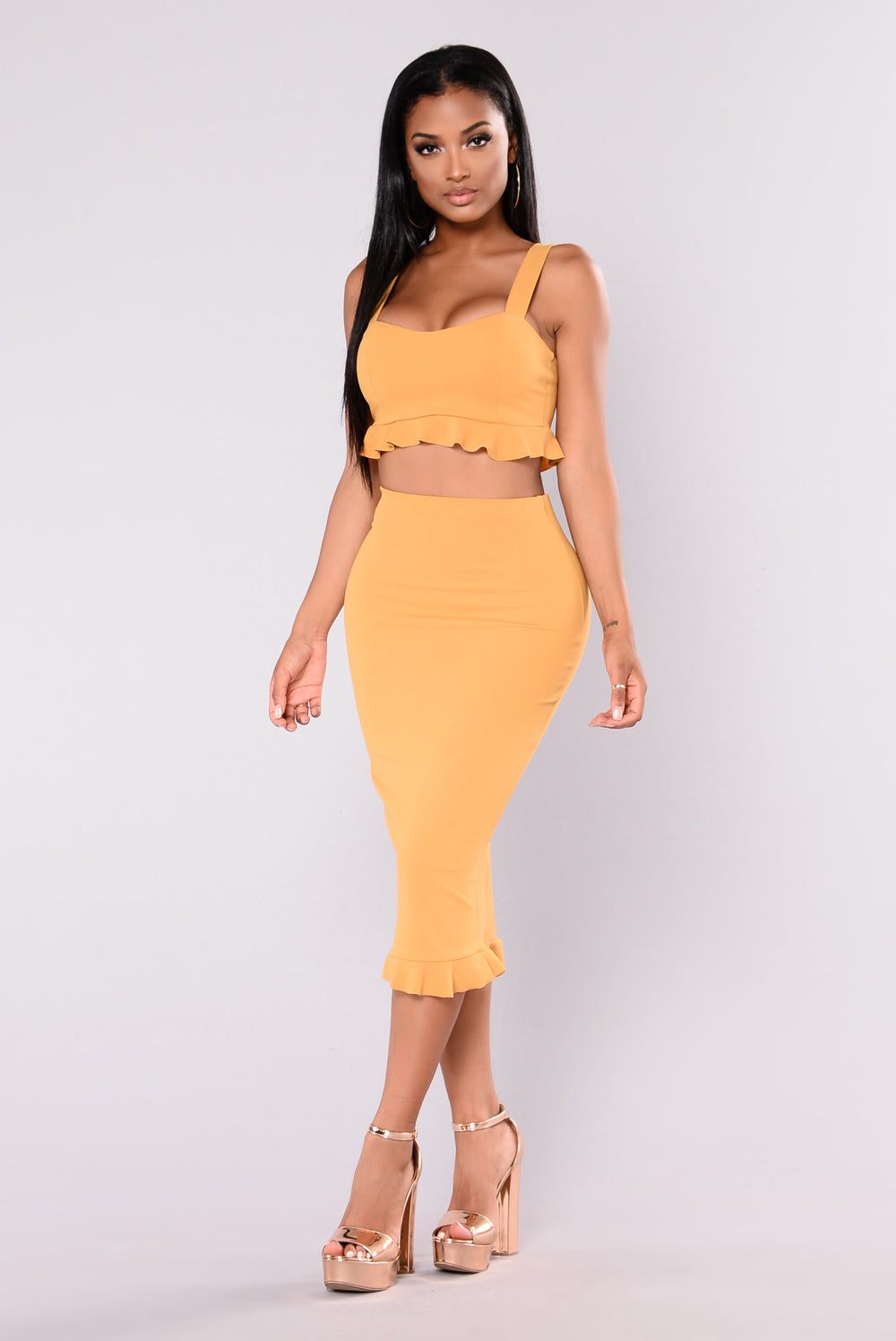 Real Smooth Ruffle Set - Mustard