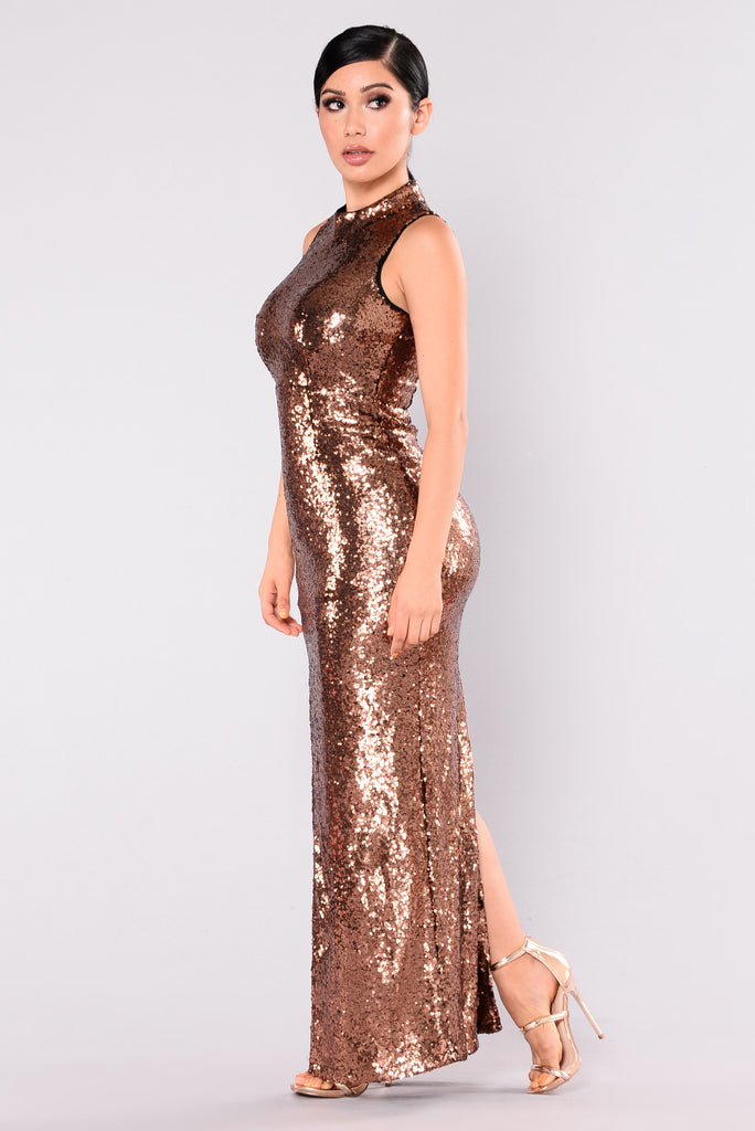 Runway Walk Sequin Dress - Copper