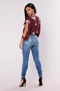 Casey Long Sleeve Top - Burgundy/Floral