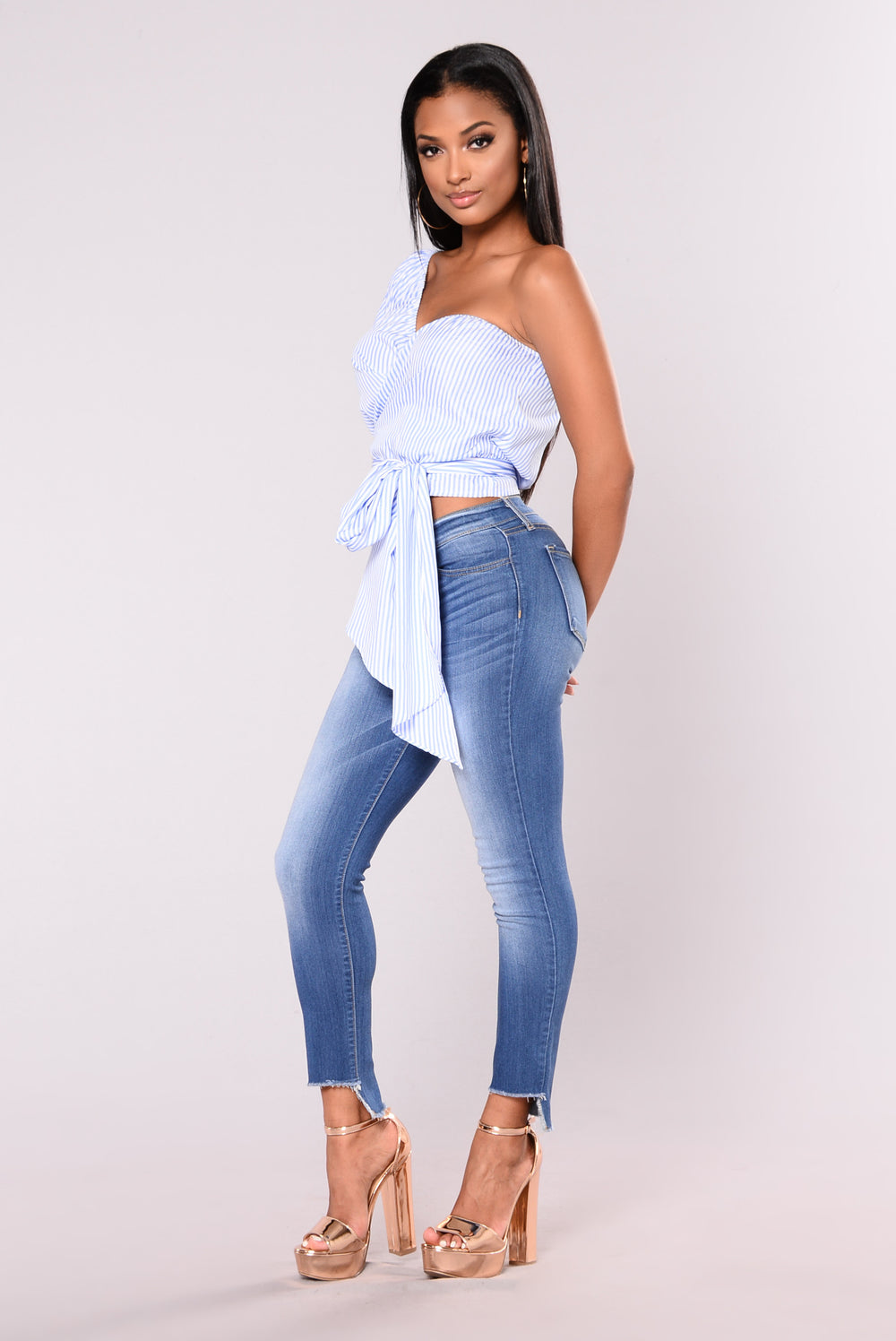 In Disguise Pinstripe Top - Blue/White