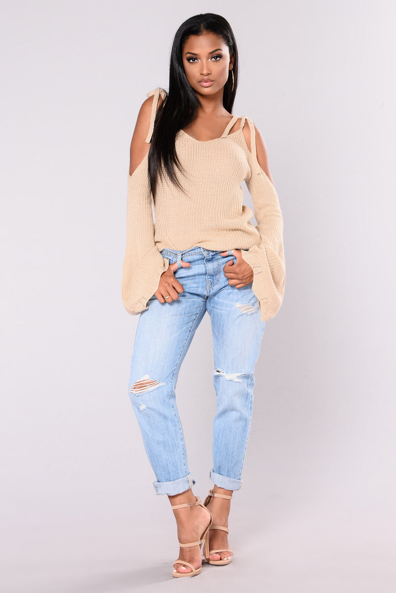 Halley Cold Shoulder Sweater - Khaki