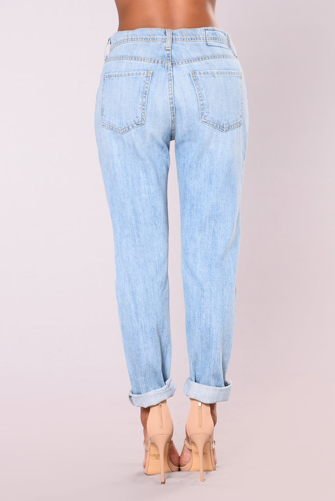 Denzi Premium Distress Boyfriend Jeans - Light Wash