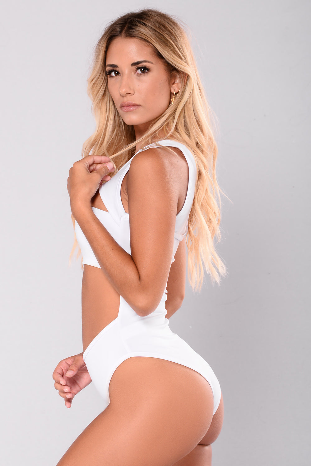 Roll The Base Cut Out Bodysuit - White