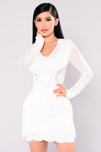 Main Street Fringe Dress - White