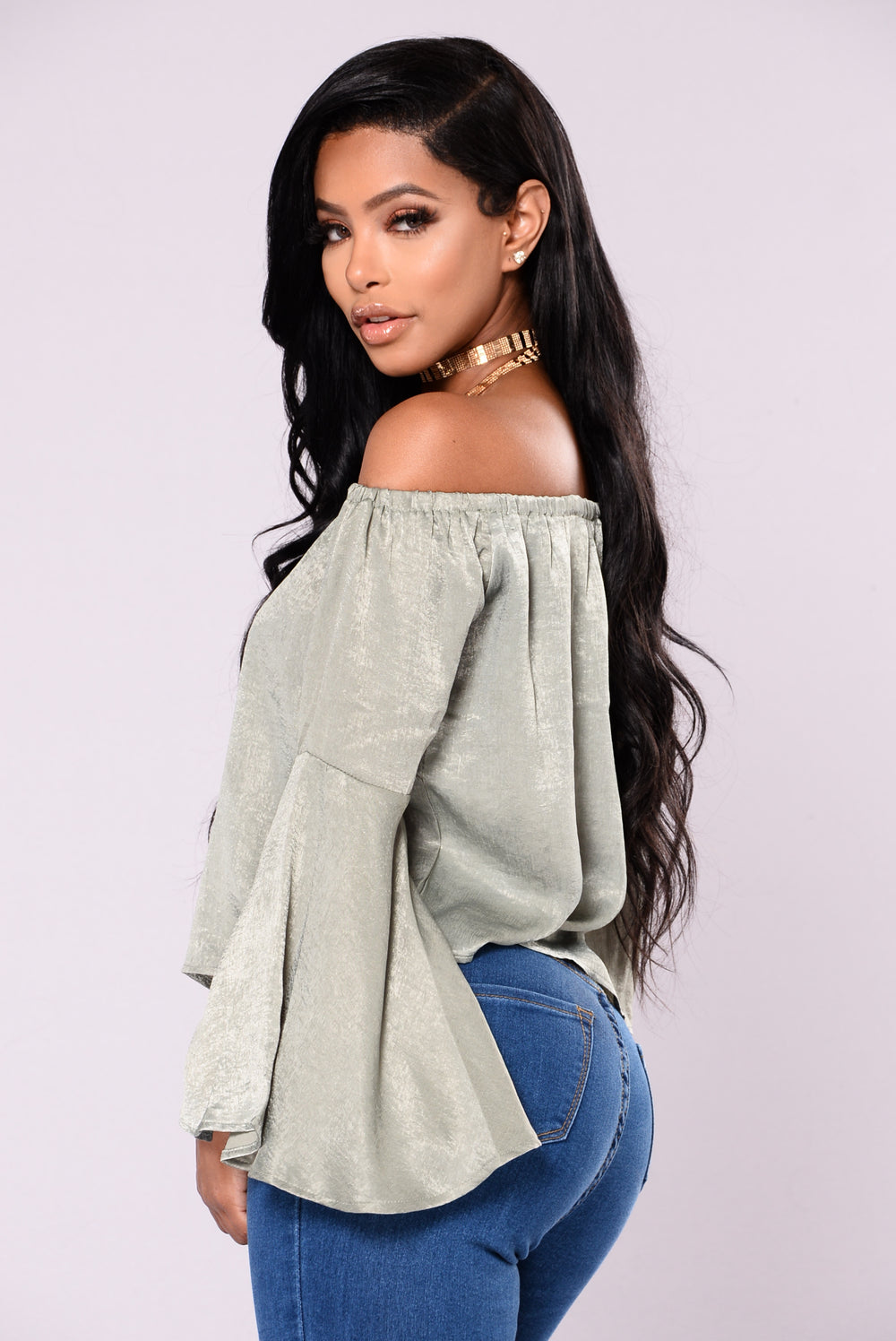 Just Like You Satin Top - Olive
