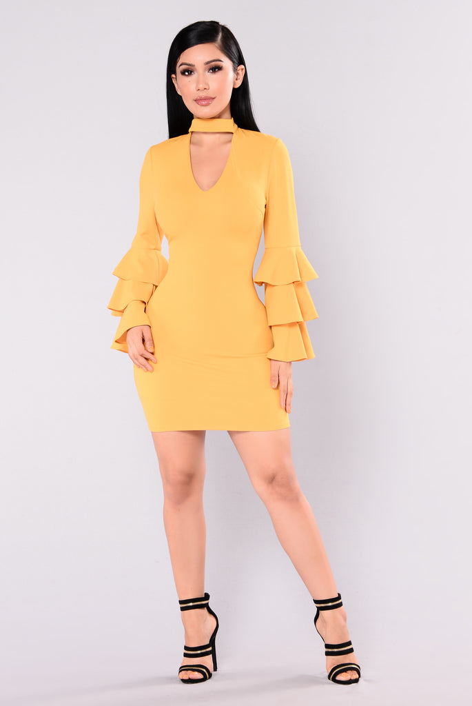 Malone Ruffle Dress - Mustard
